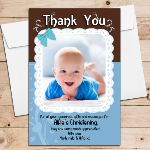 10 Personalised Blue Lace Birthday Christening New Baby Thank you PHOTO Cards N198
